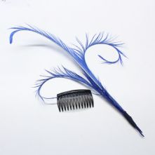 Royal Blue Faux Lyre Bird Feather Hat and Millinery Trim